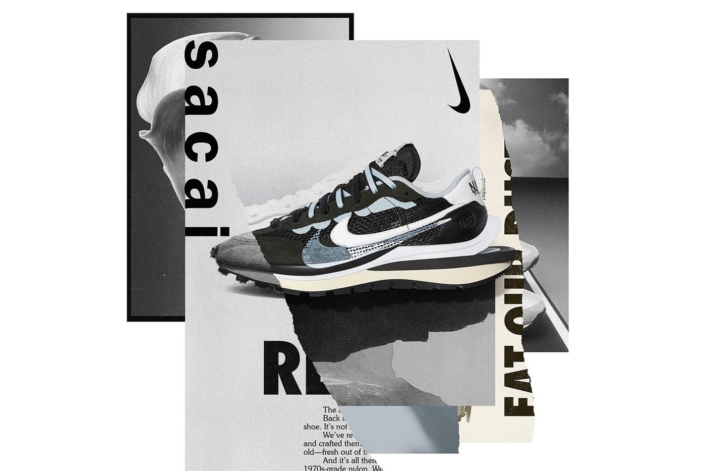 sacai x Nike VaporWaffle White Red Sneaker Collaboration Blue Heel Chitose Abe