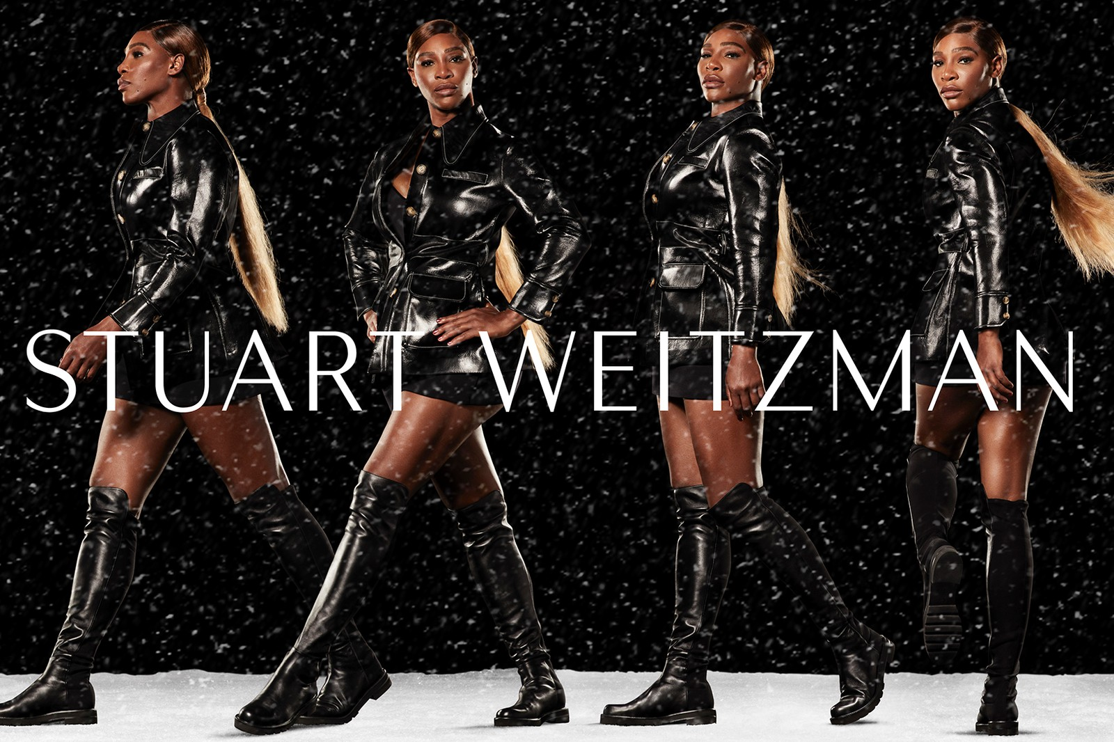 Serena Williams Stuart Weitzman Winter Collection Campaign 5050 Lift Boot Chain Bootie