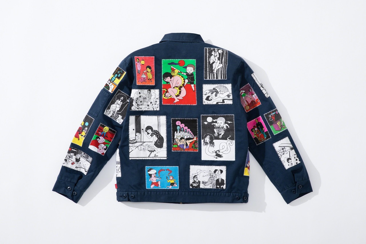 supreme toshio saeki fall winter collaboration japanese erotica hoodies jackets work pants release date