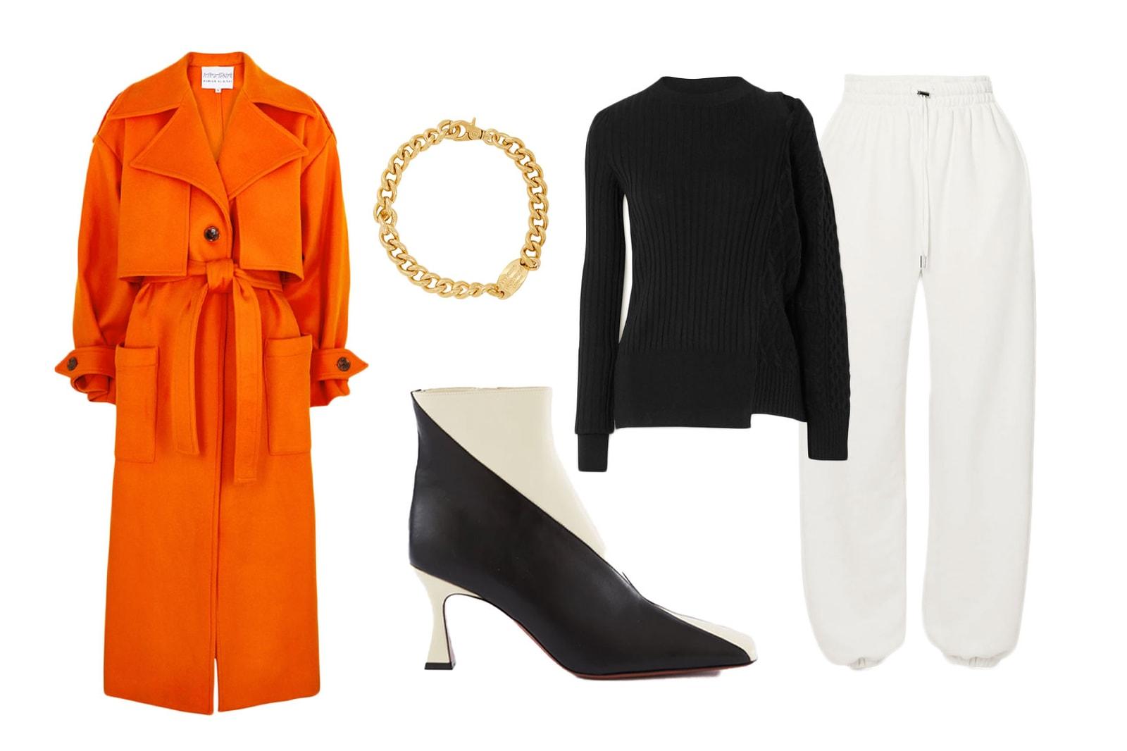 tracksuit styling editors guide outfit frankie shop sweatpants sacai knit sweater orange coat