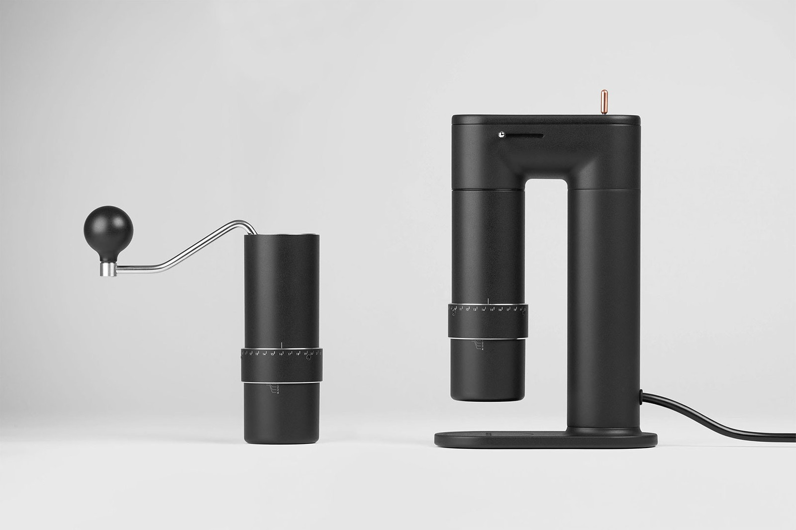 goat story arco coffee grinder electric hand 2-in-1 black minimal design homeware launch