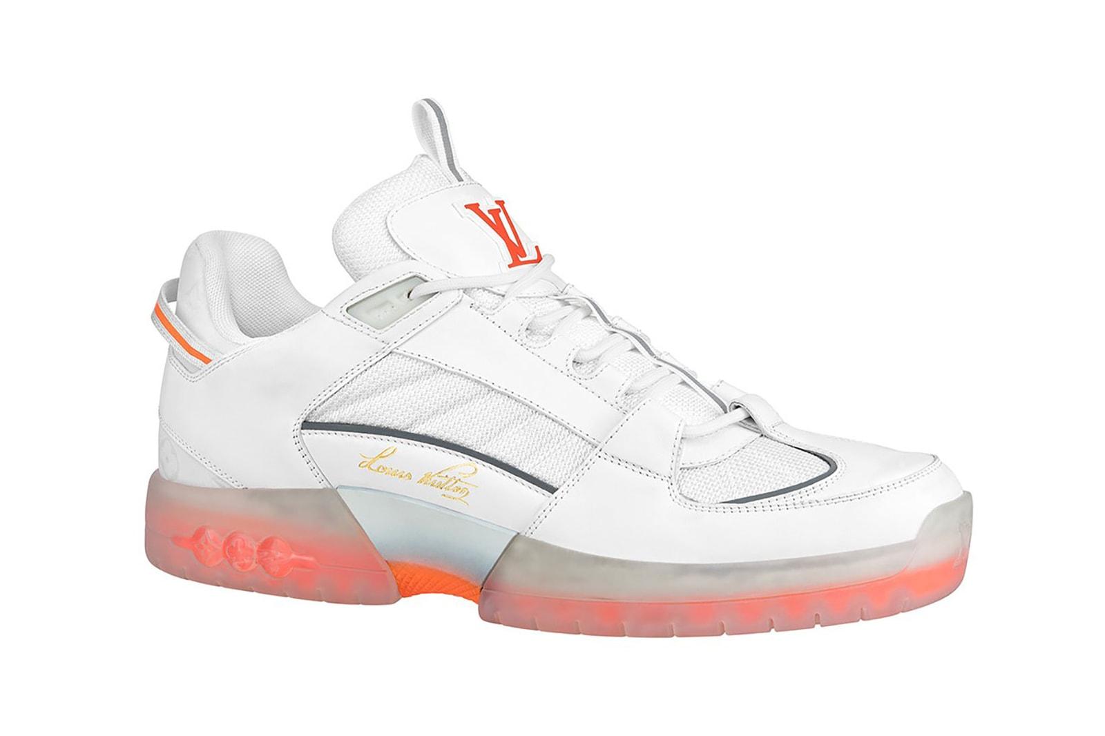 louis vuitton pre spring 2021 a view skate sneakers white orange blue sneakerhead footwear shoes