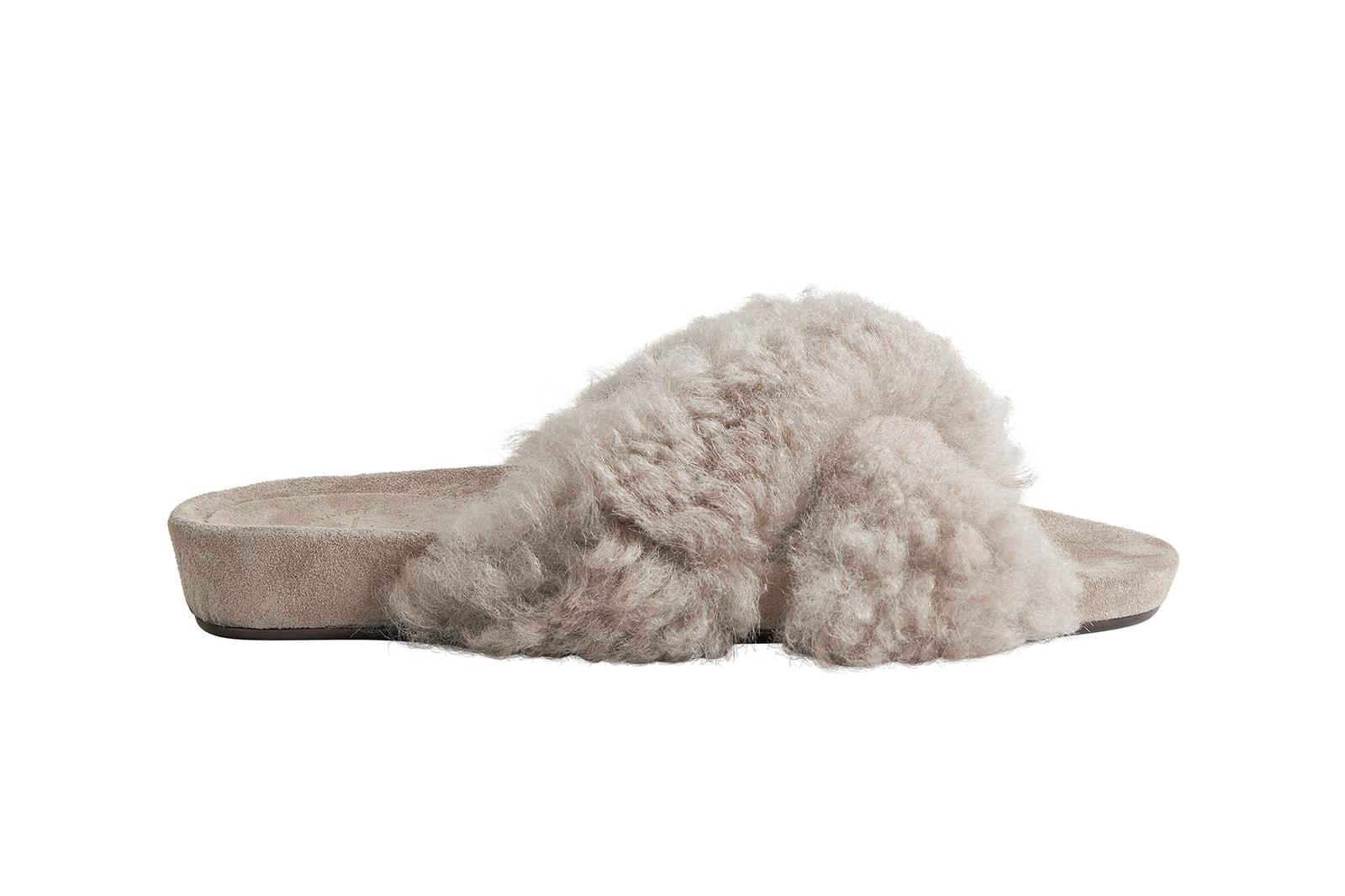 net a porter atp atelier collaboration doris everyday sandals shearling fur gray