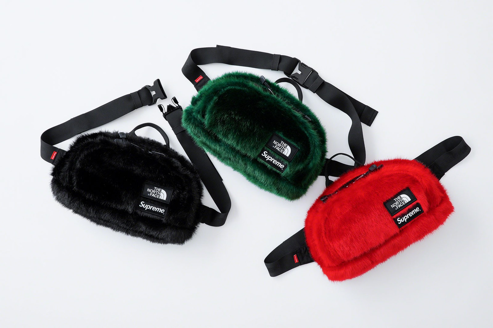 the north face supreme fall winter collaboration faux fur nuptse jackets backpacks waist bags red black green release