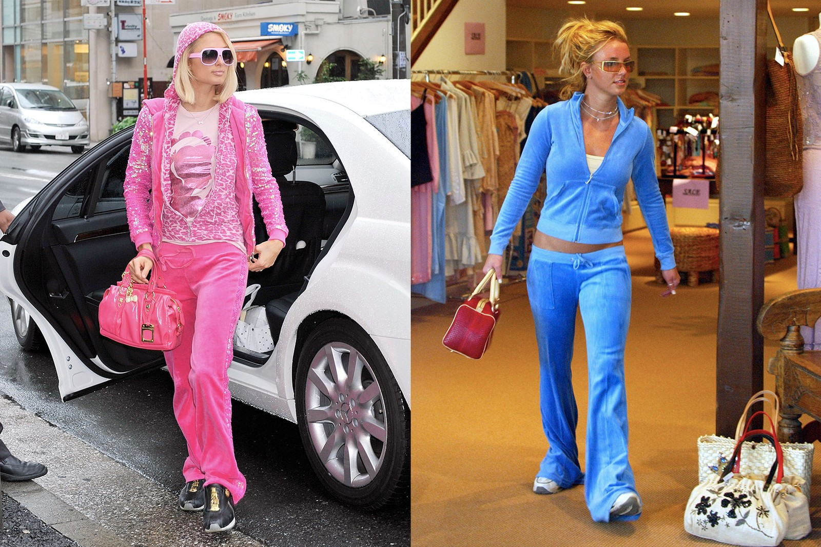 mary kate ashley olsen twins sisters nsync launch party celebrity album red carpet halter top choker necklaces jewelry paris hilton velour tracksuit pink shades
