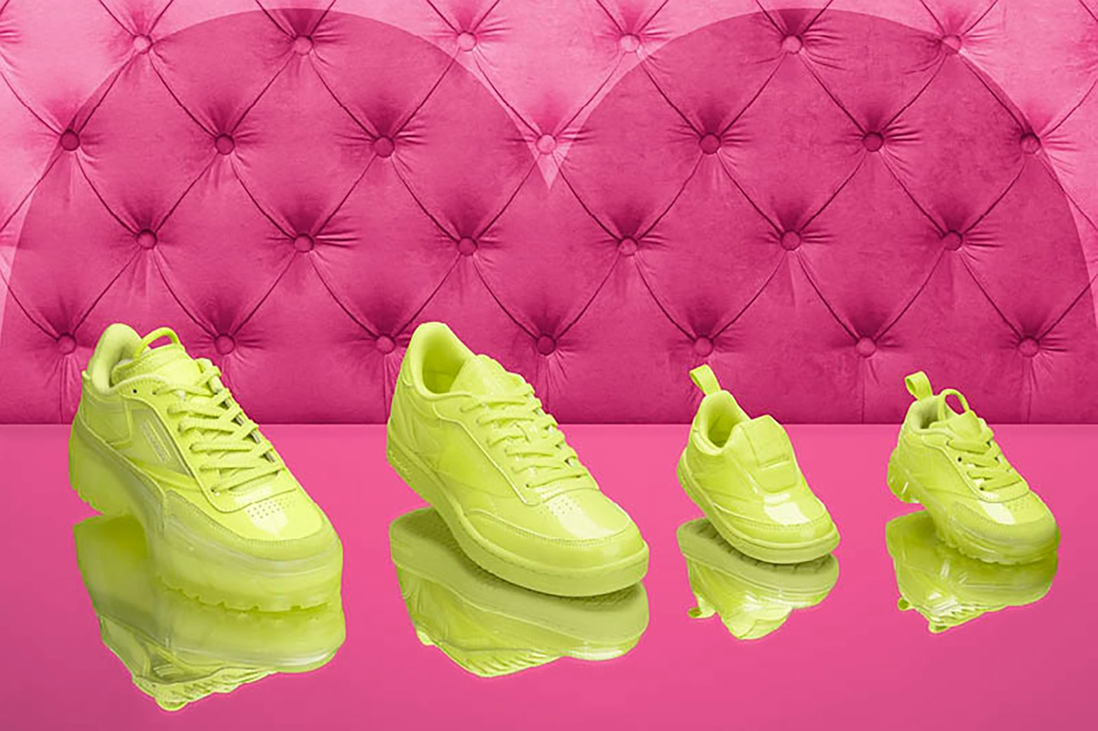 cardi b reebok coated club c double collaboration sneakers neon pink green footwear shoes sneakerhead
