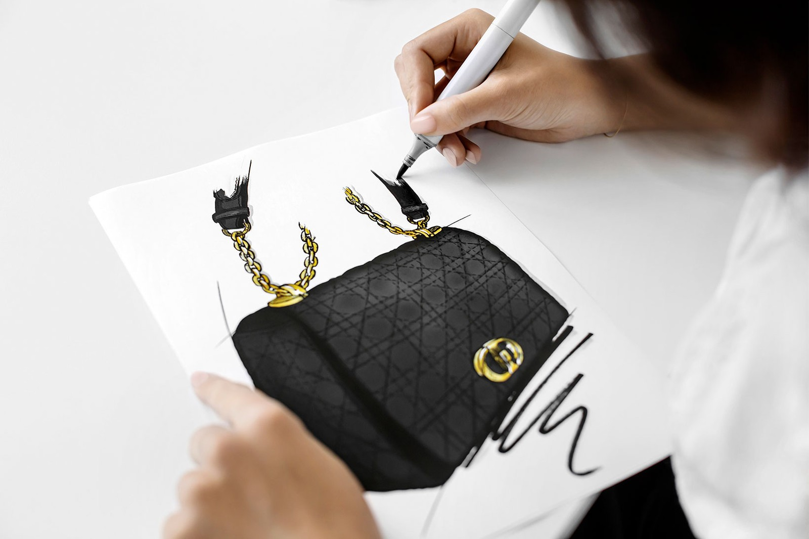 dior caro bag cruise 2021 collection how its made behind the scenes black gold chains