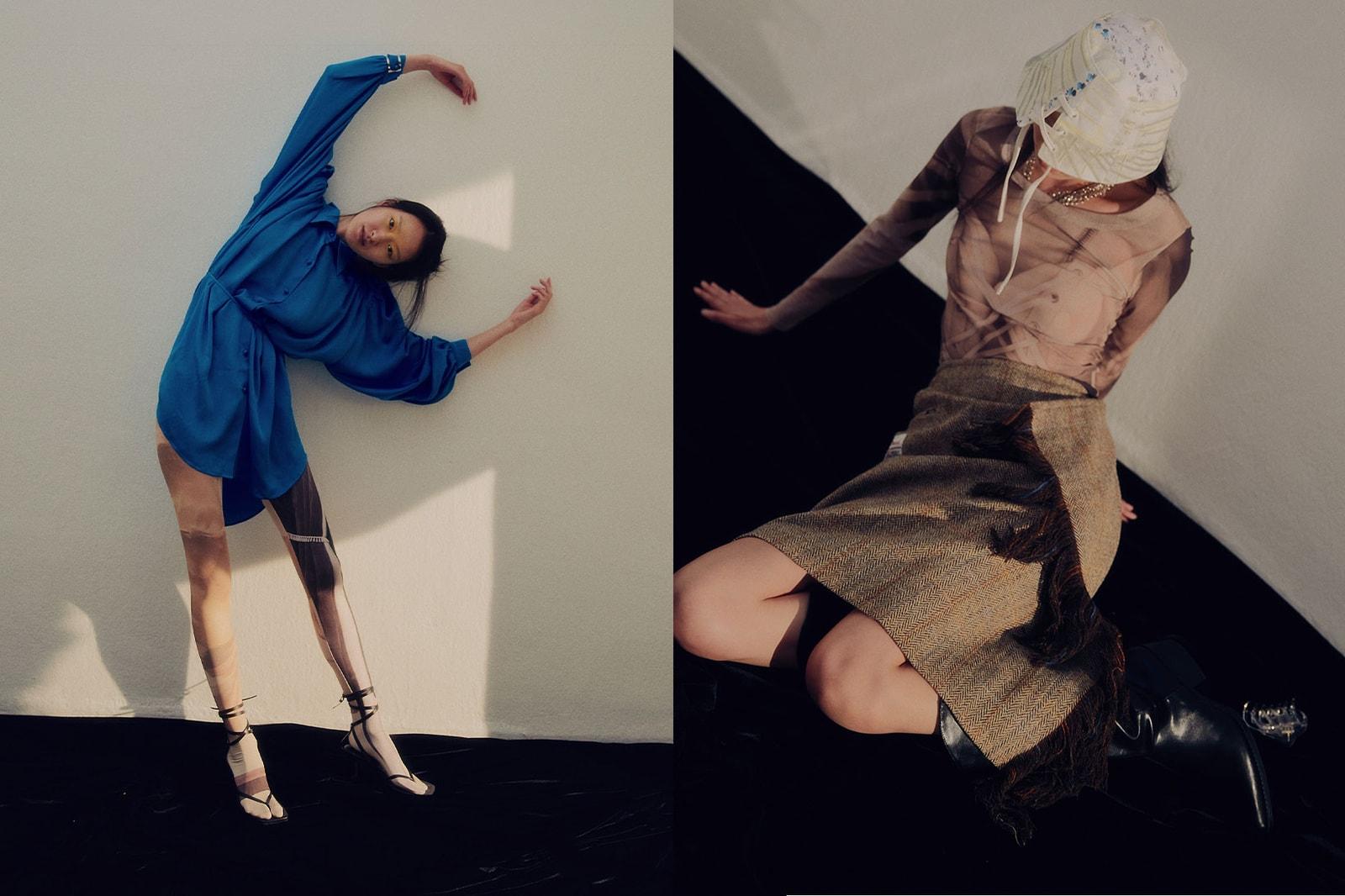 korean fashion emerging female fashion designers brands 2000archives two thousand blue dress sheer top