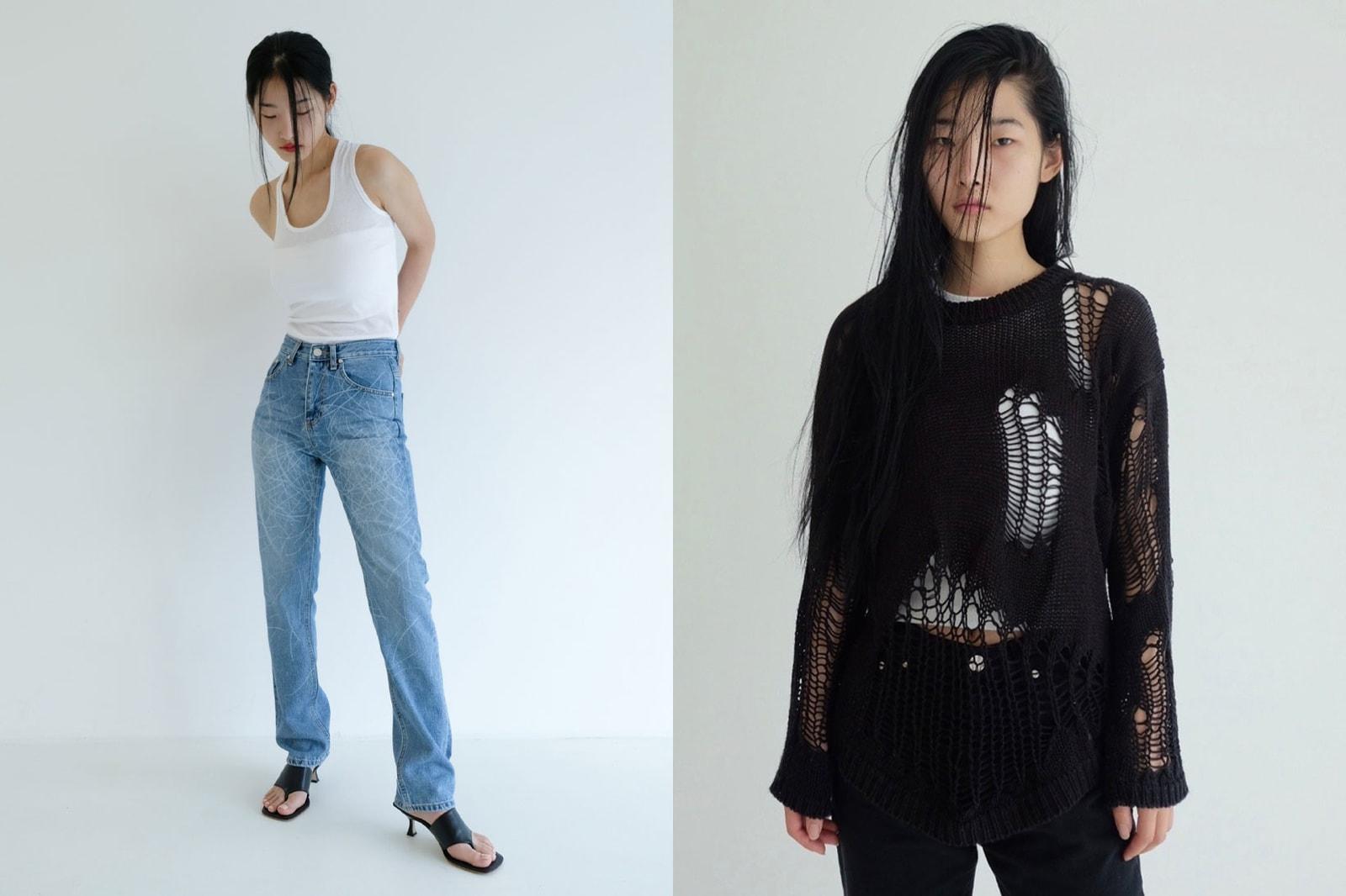 korean fashion emerging female fashion designers brands tuming white tee jeans knit sweater