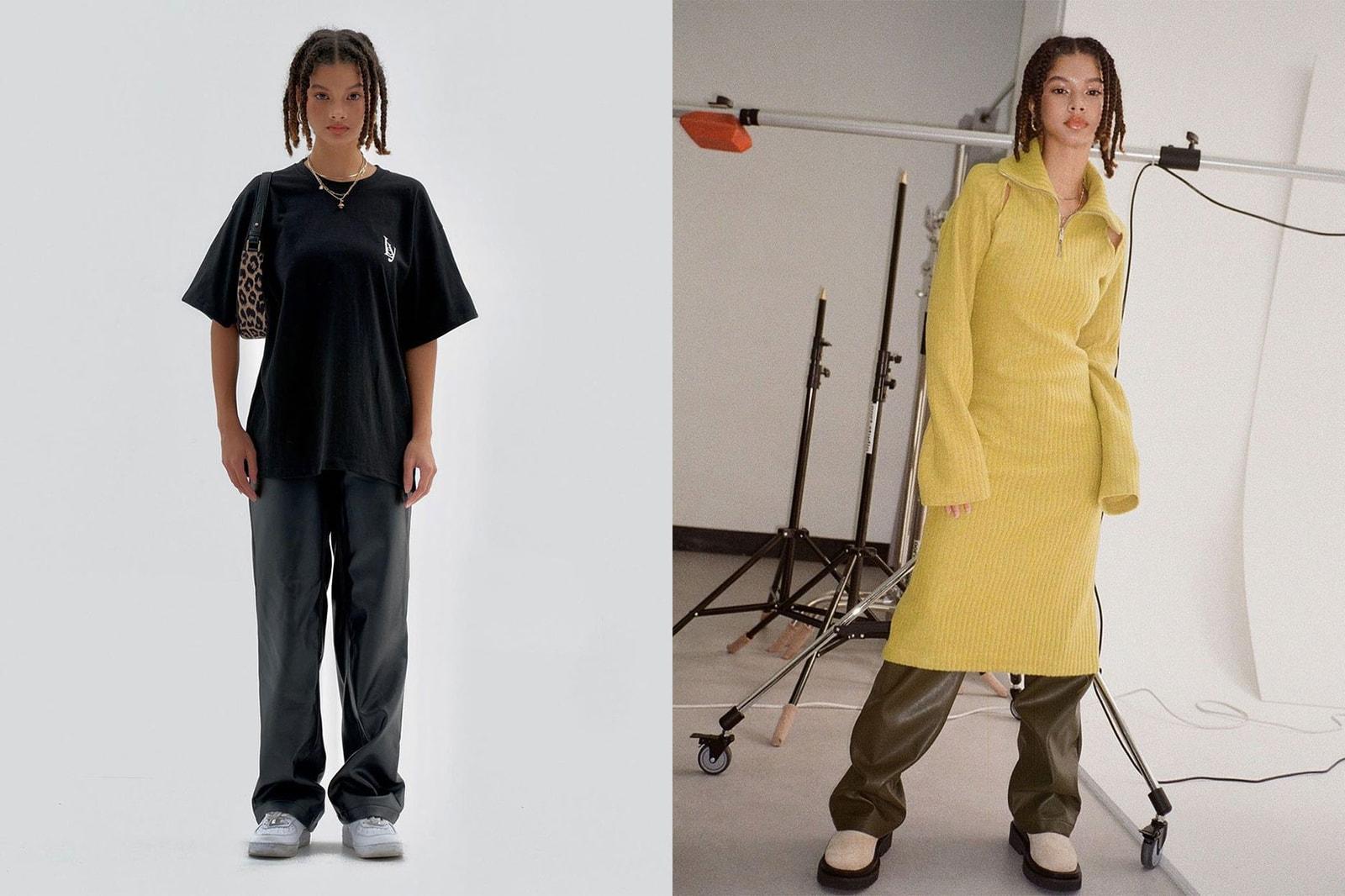 korean fashion emerging female fashion designers brands leey knit ribbed dress t-shirt trousers