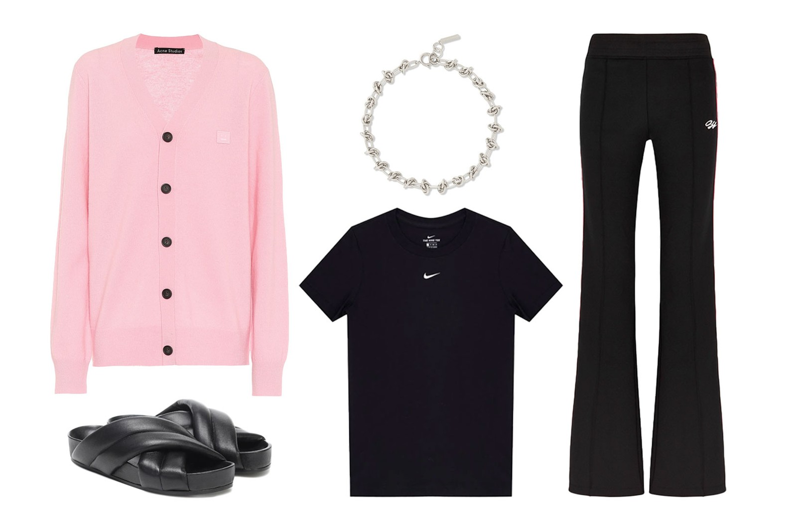 black outfits how to wear styling guide acne studios pink face knitwear cardigan jil sander slippers slides nike swoosh tshirt justine clenquet chain necklace choker off-white flared pants