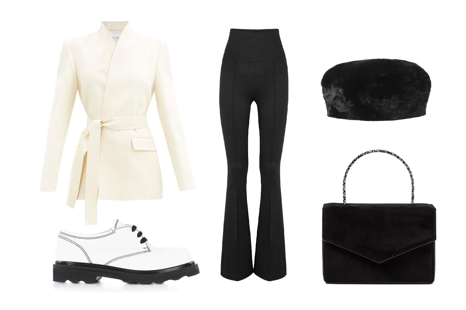 black outfits how to wear styling guide raey white wrapped jacket blazer marni derby helmut lang flared pants amina muaddi handbag purse eugenia kim faux fur hat