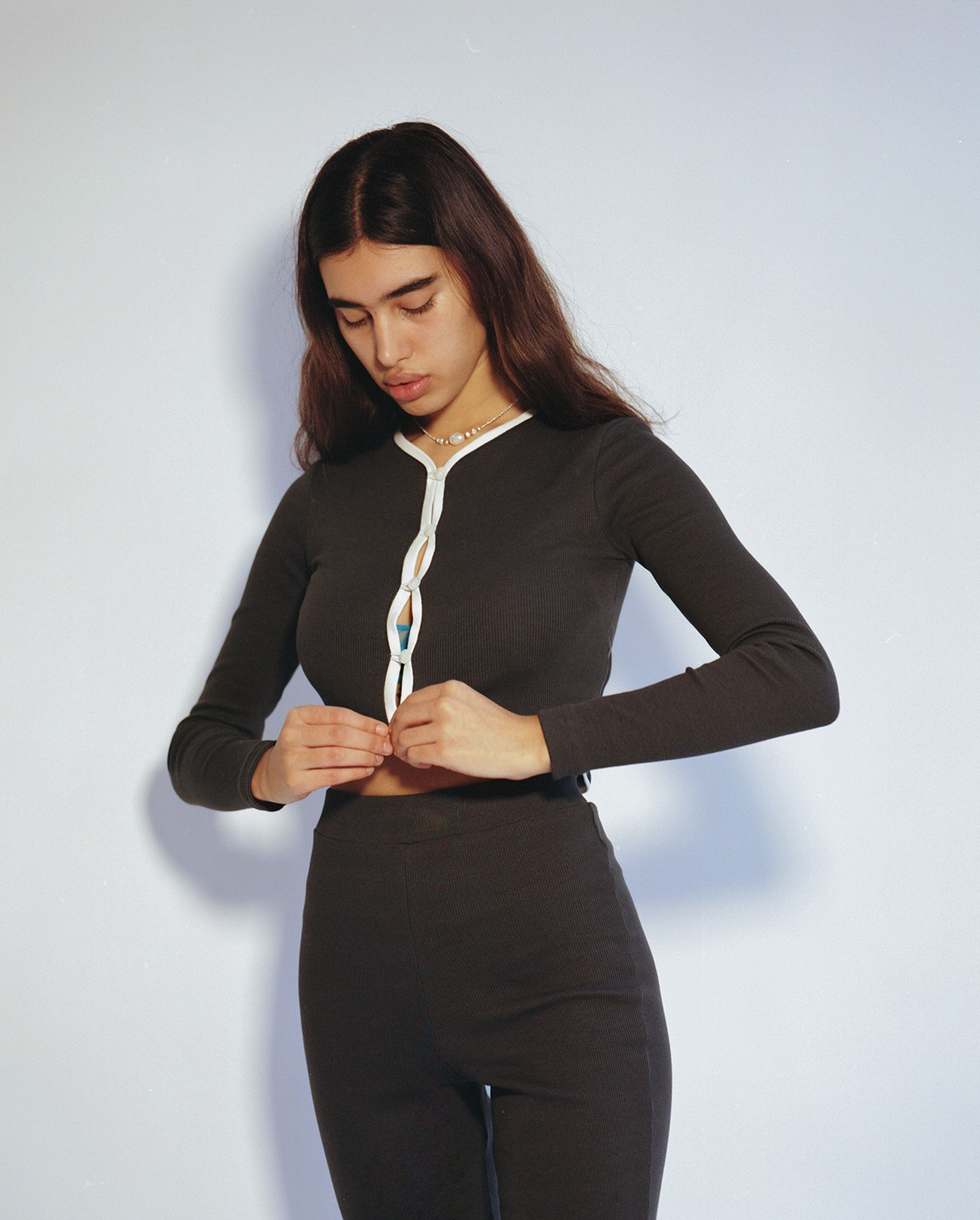Peachy Den Loungewear London UK Indie Womenswear Fashion Brand Lilliana set Cardigan Top Bottoms Trousers Pants '70s Model