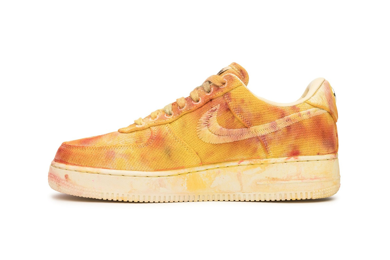 Stussy Nike Air Force 1 Sneaker Hand Dyed Collaboration Blue Yellow Grey Gray Red Green