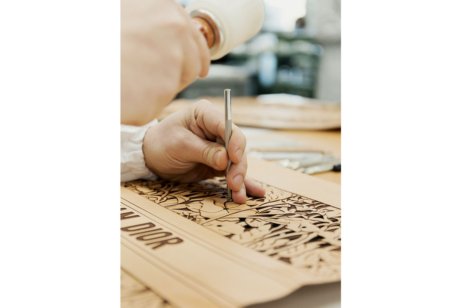 dior book tote handbag sculpted leather tooling how it's made bts savoir faire craftsmanship