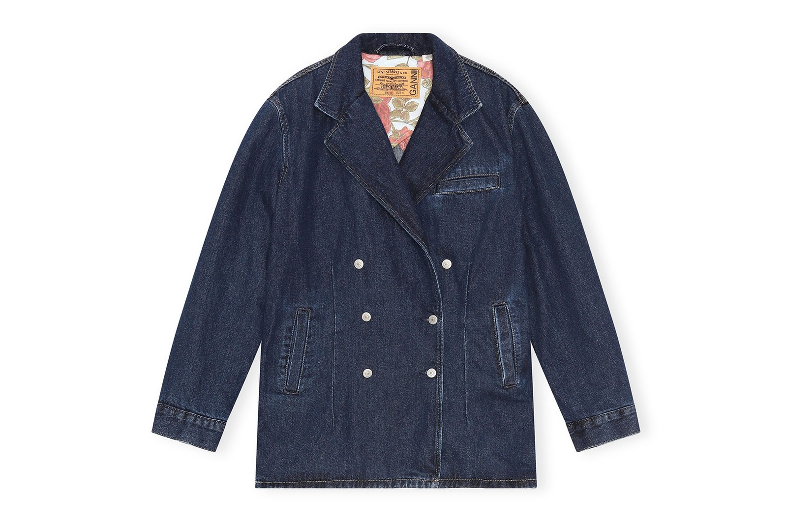 levis ganni denim jeans collaboration spring summer sustainable jackets dresses pants price where to buy