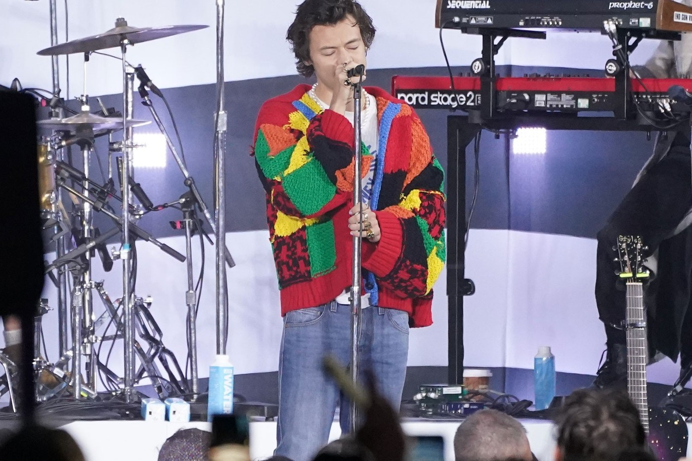 Harry Styles Best Outfits Gucci JW Anderson Cardigan Music Video Golden BRIT Awards