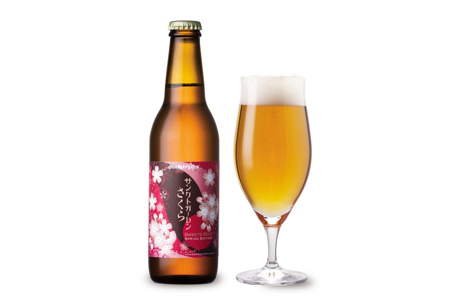 cherry blossom beer alcohol drink japan sankt gallen glass