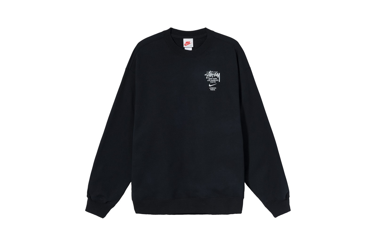 nike stussy air huarache sneakers collaboration fleece crewneck sweatpants black gray