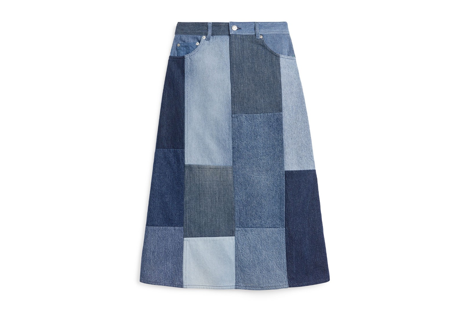 arket patchwork denim jeans sustainable post-consumer reycled shirts trousers tote bag