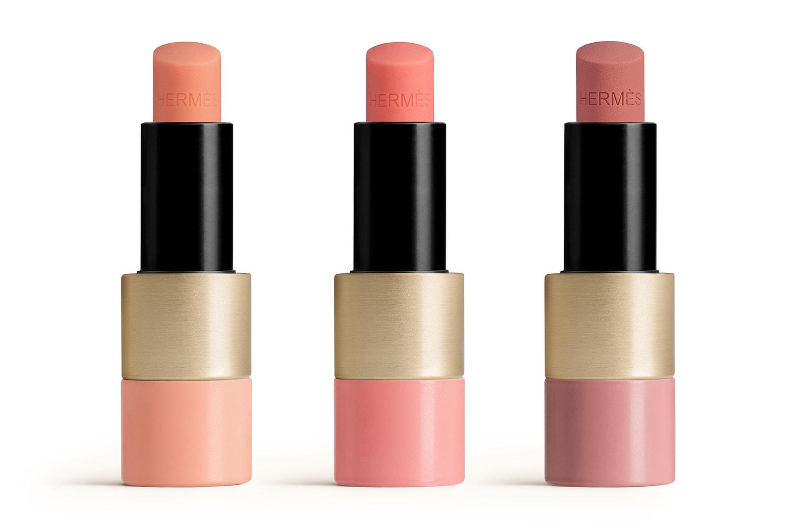 hermes beauty rose silky blushes pommette cases lip enhancers makeup brushes sustainable