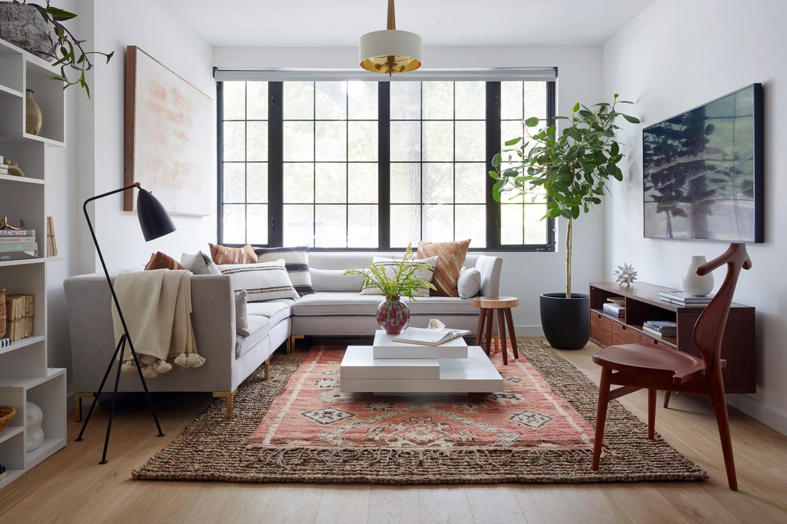 Living Room Interior Design Home Mid Century Modern Furniture Fireplace