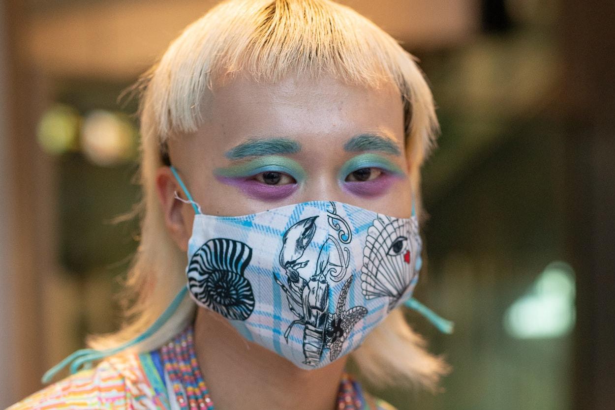 Paris Fashion Week Spring/Summer 2021 Street Style Face Mask Makeup