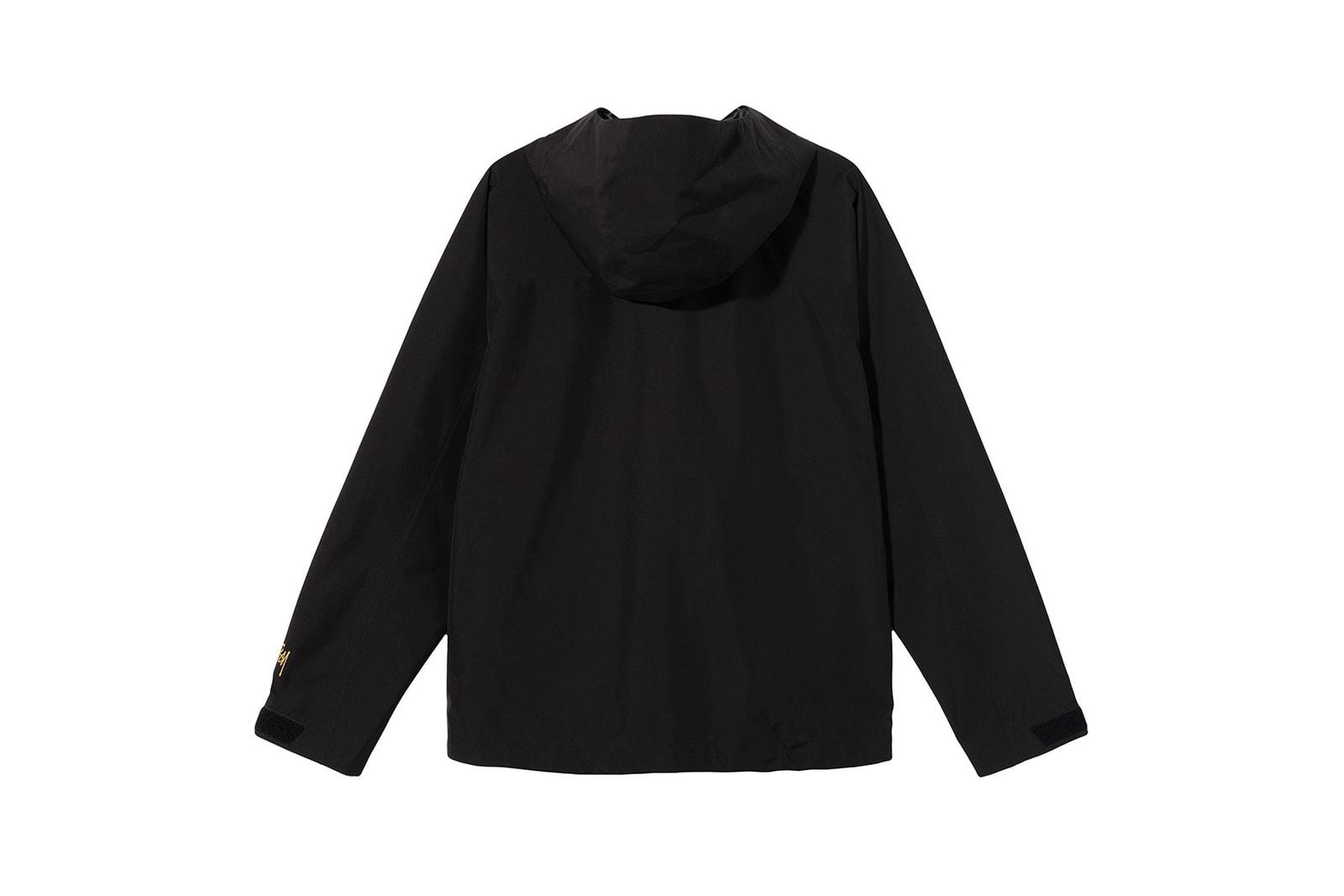 stussy goretex apparel collaboration jacket pants hat black camo