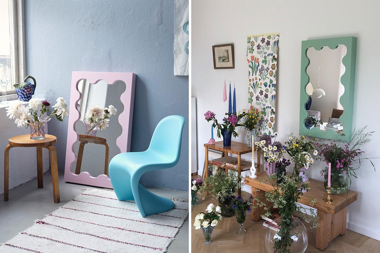 Decorative Wall Mirrors Leaning Floor Home Decor Gustaf Westman Curvy Mini Pastel Purple Pink Swedish Design Designer Stockholm WeraJane Wave Furniture