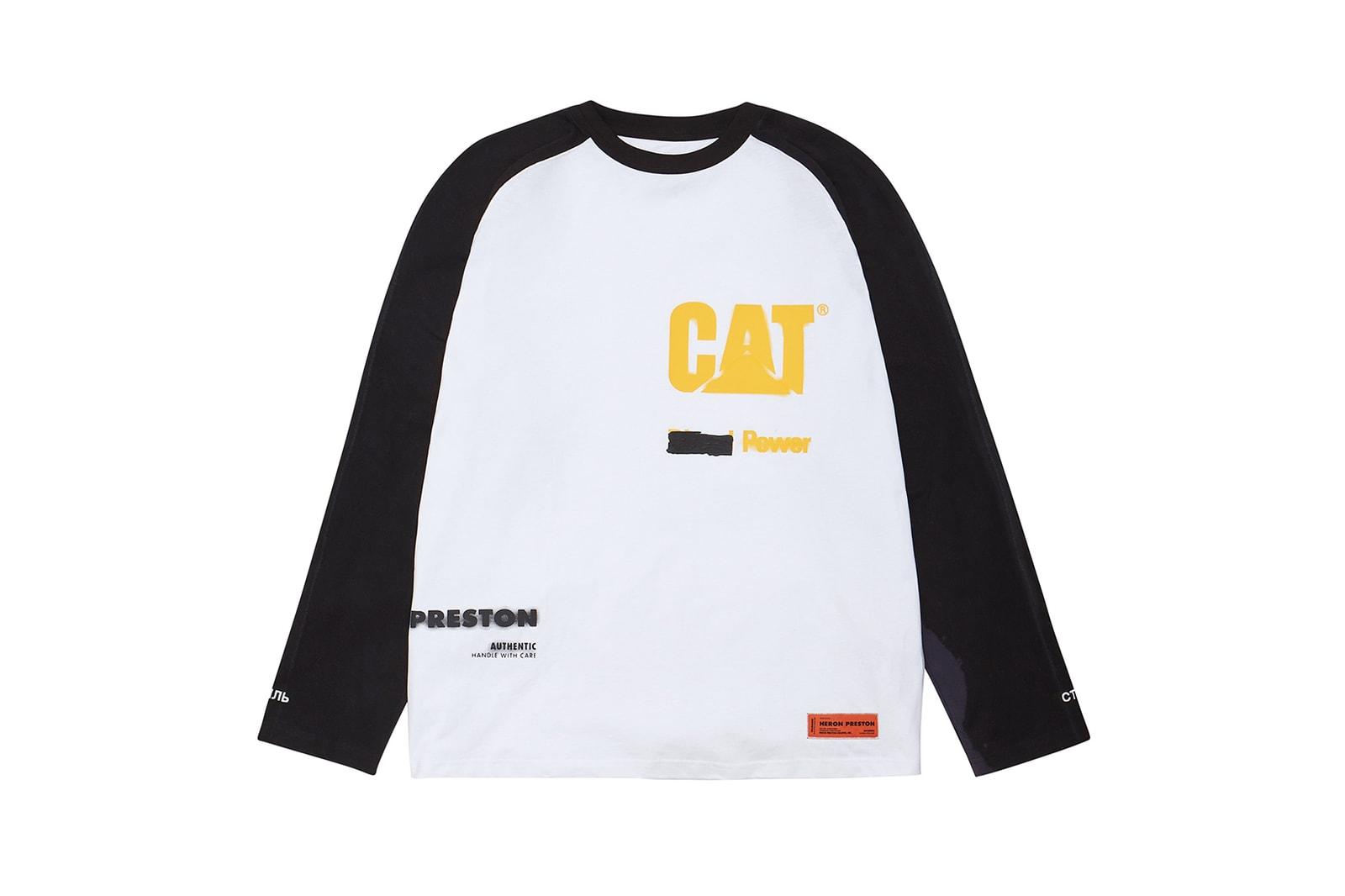 heron preston caterpillar cat spring summer collaboration outerwear hoodies jackets pants