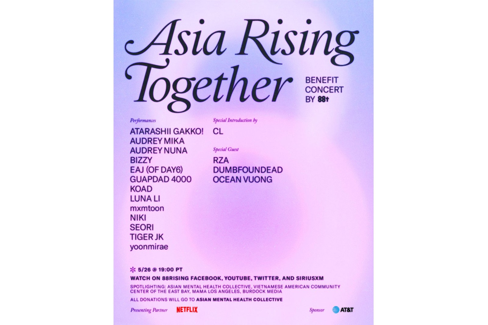 88rising asia rising together aapi heritage month benefit concert CL NIKI AUDREY NUNA eaj day6 watch livestream info