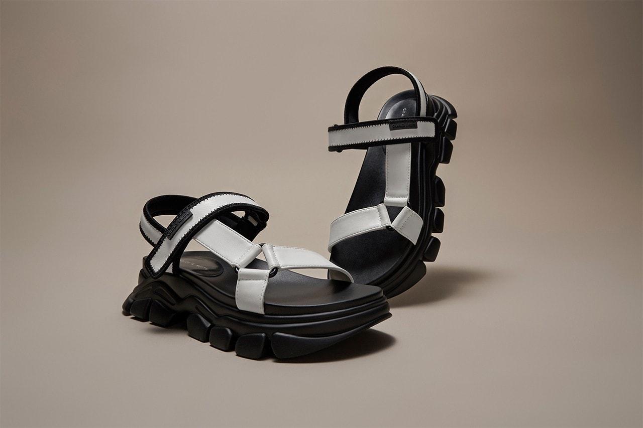 charles and keith dash sandal spring summer black white socks footwear
