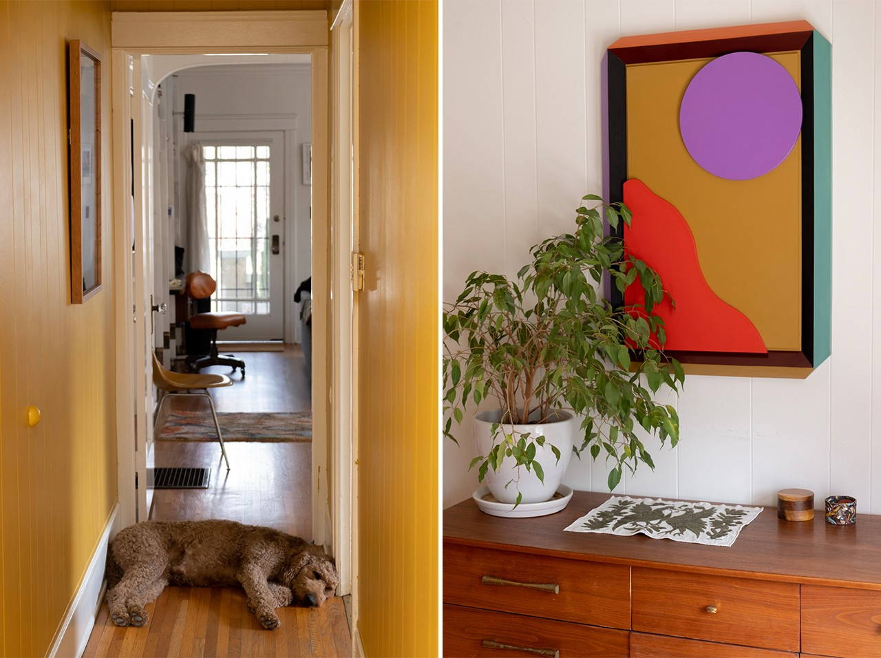 Adi Goodrich Sing-Sing Studio Founder Spatial Designer Home Tour Los Angeles LA House Bedroom Painting Wall Art Lamps Indoor Plants Houseplants