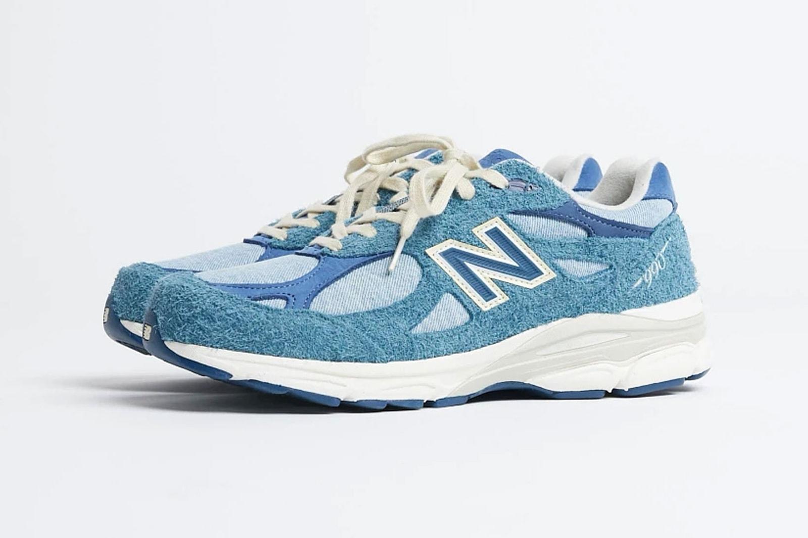 levis new balance nb 990v3 denim collaboration blue sneakers release info
