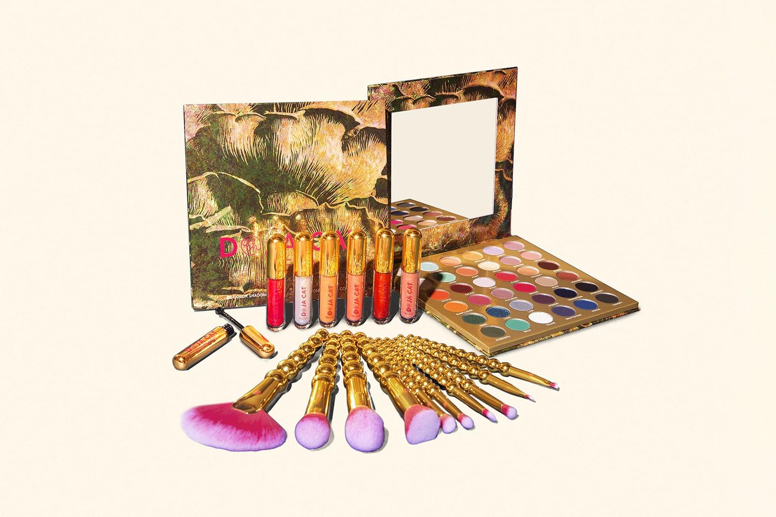 Doja Cat BH Cosmetics Makeup Collection Collaboration Eyeshadow Palette Blush Highlighter Lip Gloss Balm Brushes Mirror Eyeliner Mascara
