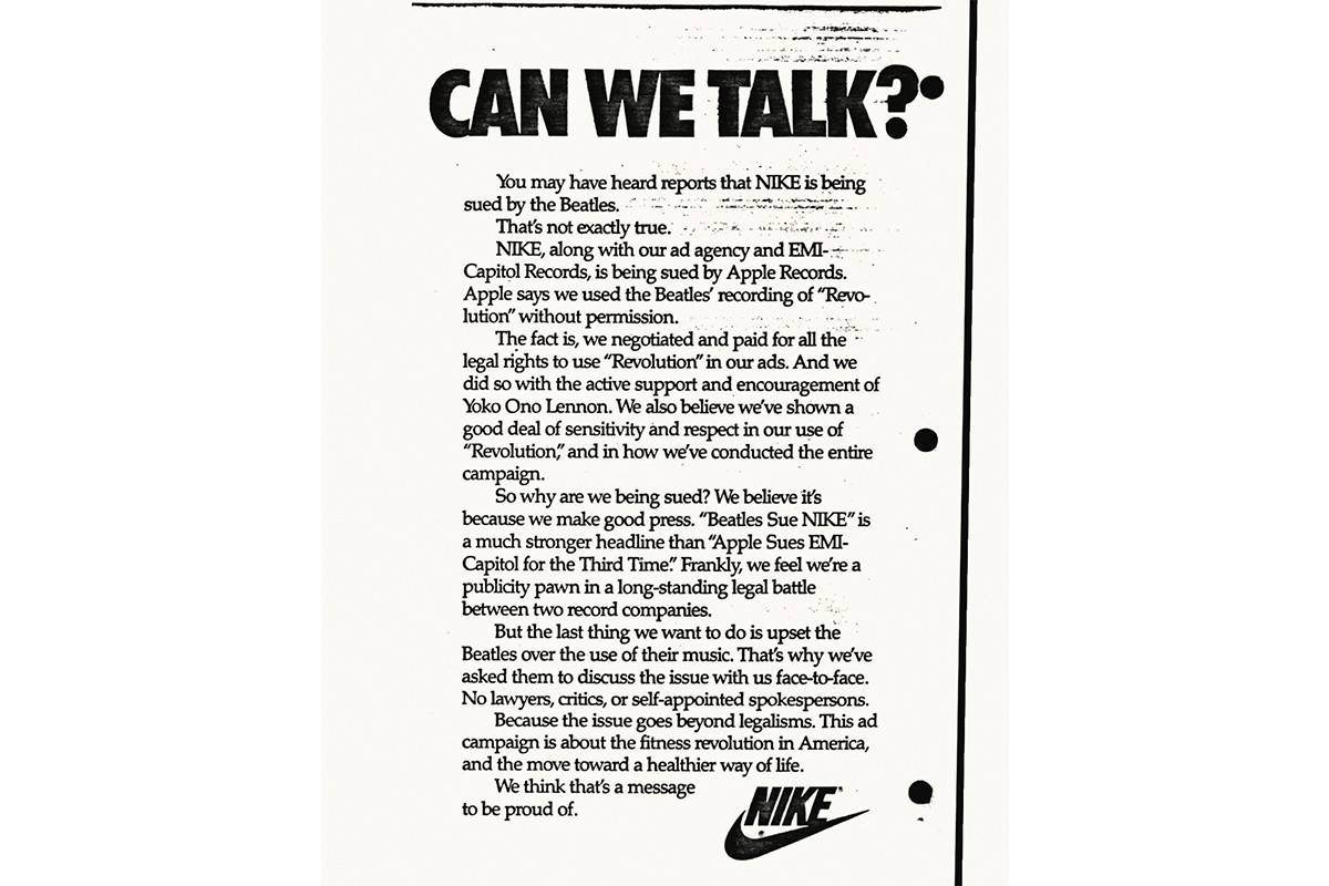 Beatles Sued Nike Air Revolution 1987