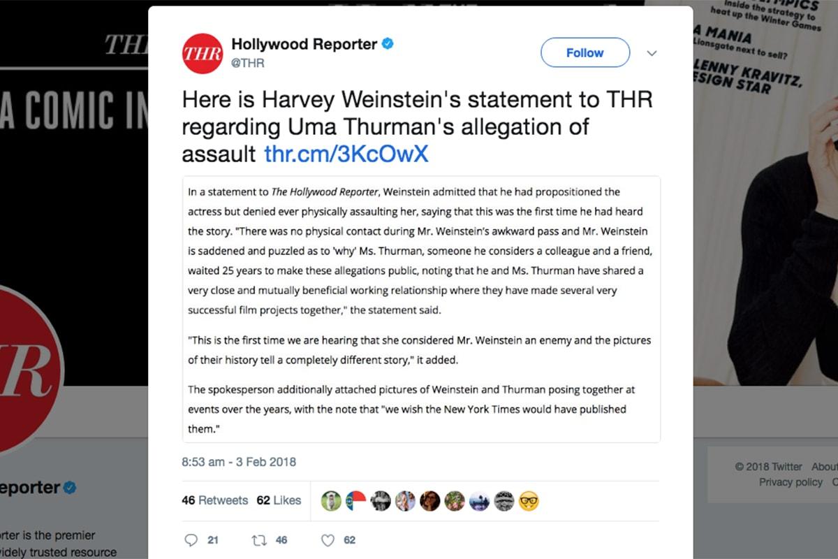 Uma Thurman 驚曝曾被演員強姦及遭 Harvey Weinstein 企圖性侵
