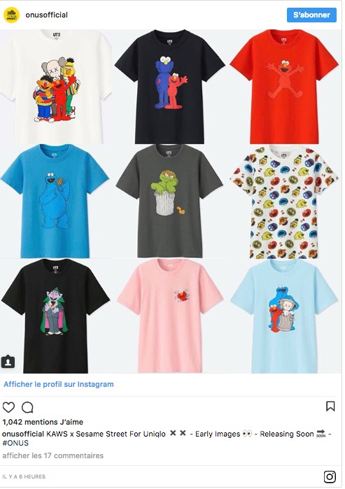 Collection KAWS x Uniqlo UT Sesame Street