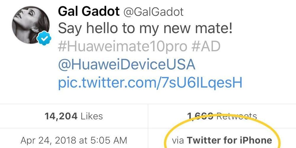 Gal Gadot 以 iPhone 發 Twitter 帖文大讚 Huawei Mate 10 手機