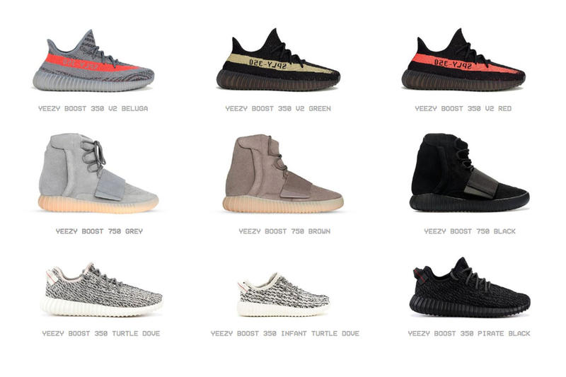 YEEZY SUPPLY 官網展示歷代 YEEZY 鞋款和全部配色