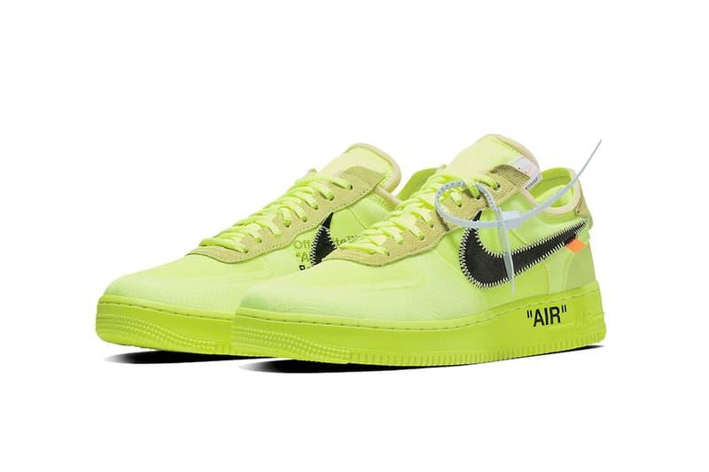 Off-White™ x Nike Air Force 1 全新聯名配色「Volt」官方圖片釋出