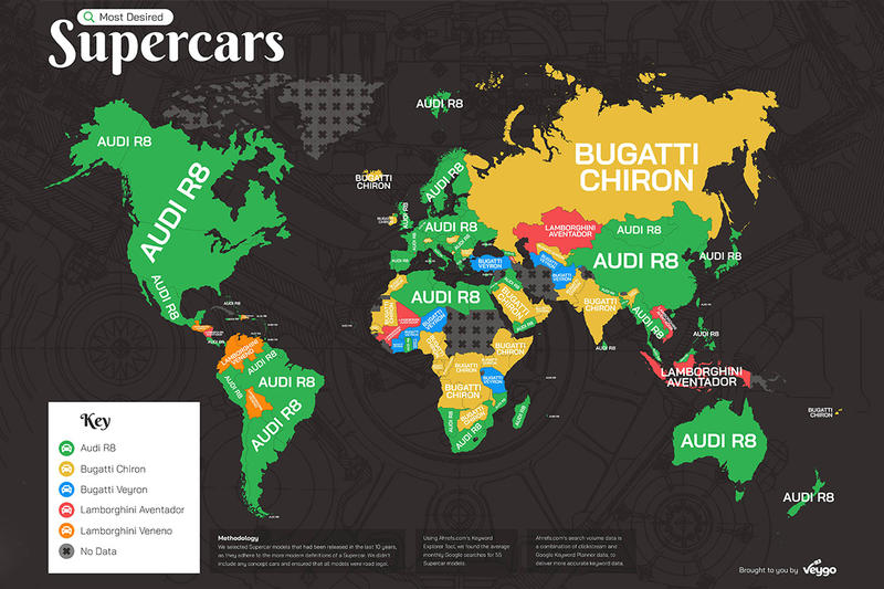 Google 統計全球各地區最嚮往超跑車型結果公佈