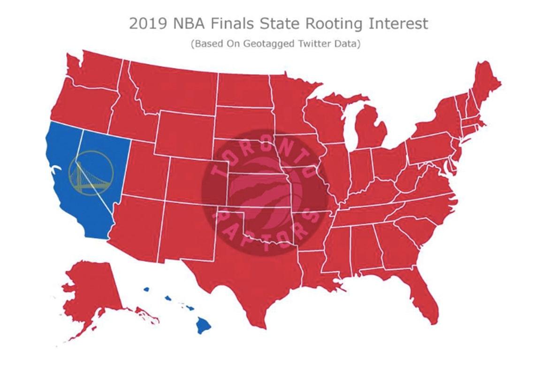 NBA 季後賽 2019 − 博弈網站統計全美超過 9 成地區支持 Raptors 擊敗 Warriors