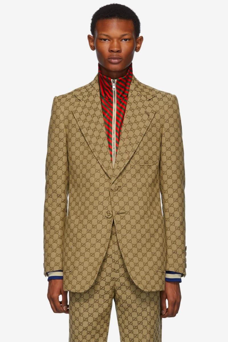 Gucci 推出 GG Logo 印花西服套裝和棒球帽