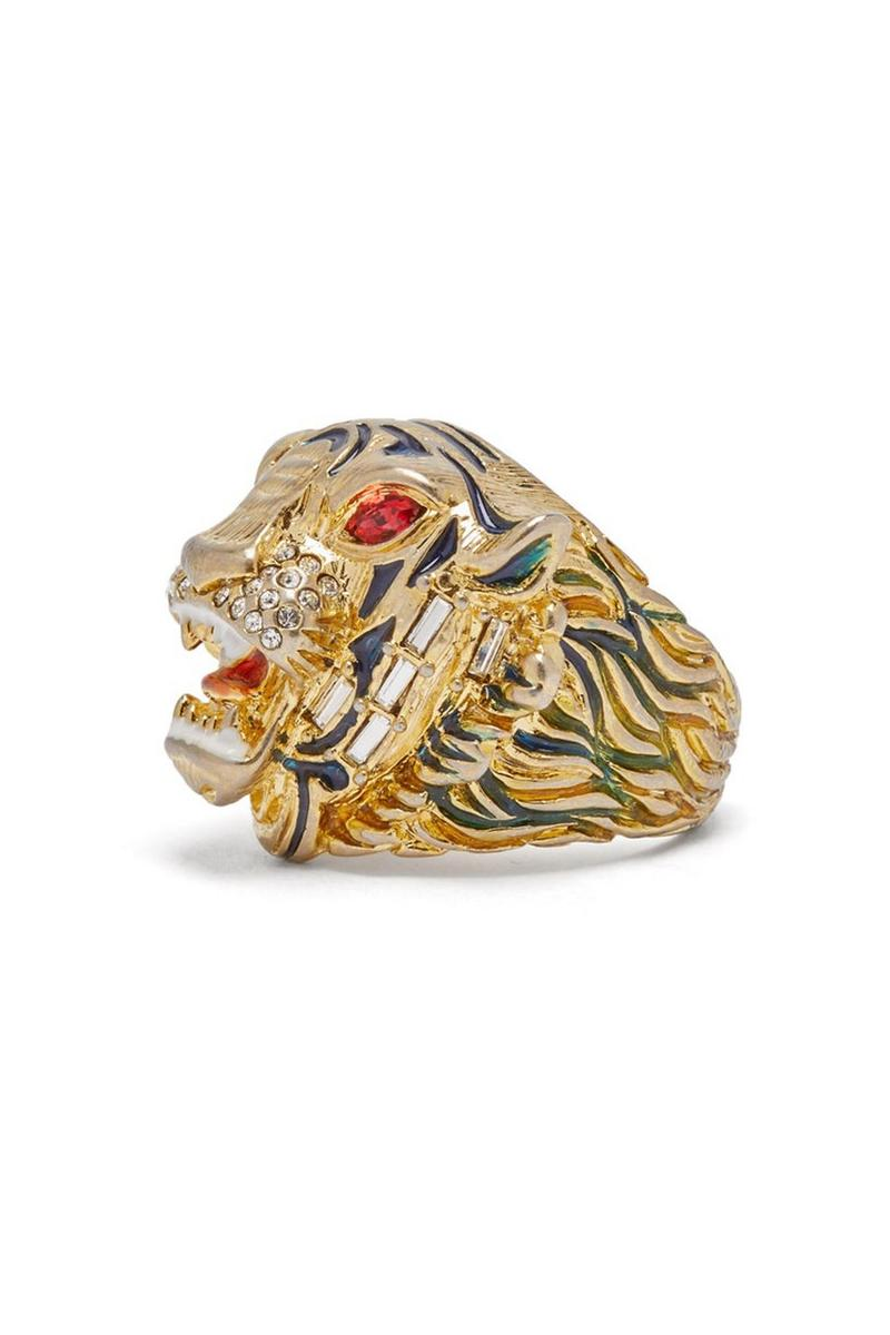 Gucci 推出金色水晶綴飾虎頭戒指