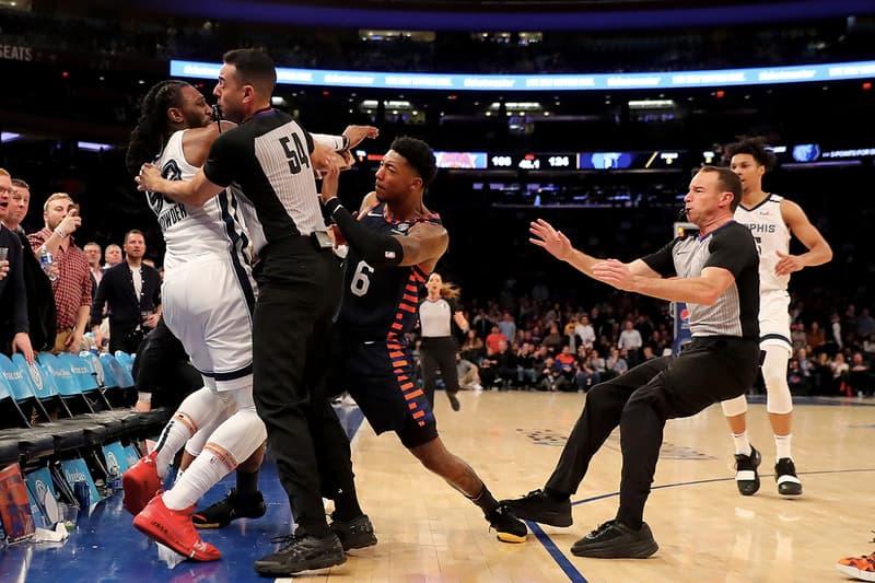 Knicks 球員 Elfrid Payton 與 Grizzlies 球員 Jae Crowder 於比賽末段發生嚴重衝突