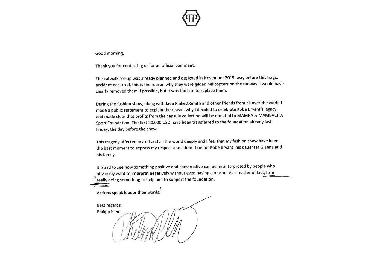 Philipp Plein 正式回應「消費 Kobe Bryant 逝世」之時裝秀爭議(UPDATE)
