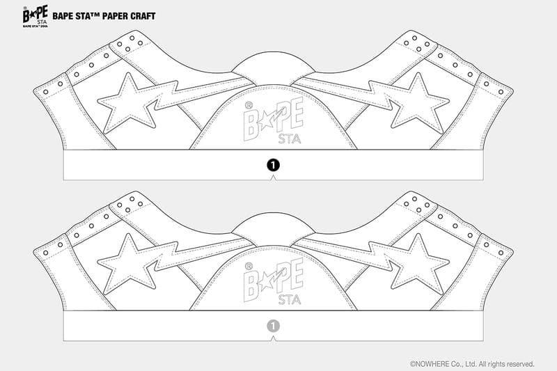 免費下載 A BATHING APE® 的紙製模型版本 BAPE STA 鞋款