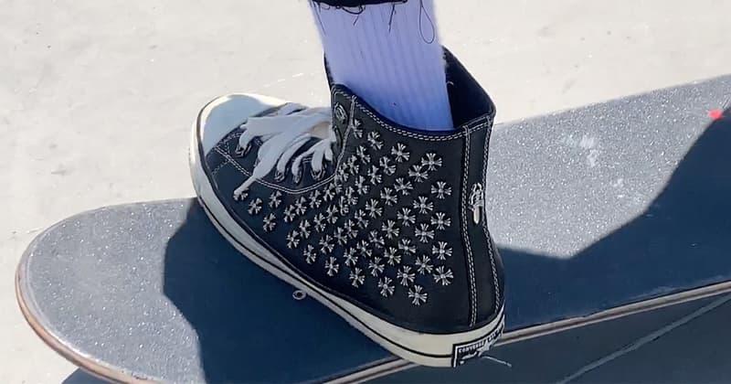 知名滑手 Erik Arteaga 實著 Chrome Hearts x Converse 聯乘鞋款滑板