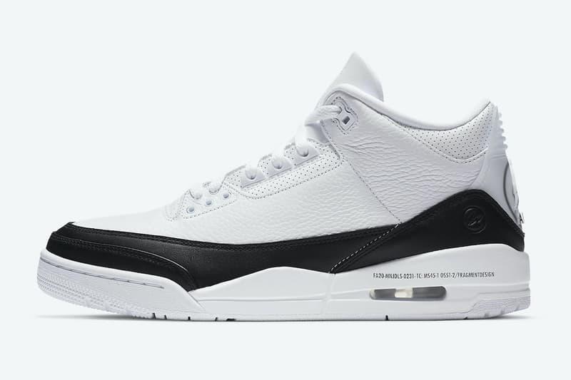 fragment design x Air Jordan 3 最新聯名鞋款官方圖輯正式登場